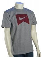 Nike Ribbon Icon T-Shirt - Grey Heather / Team Red