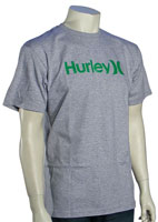 Hurley One and Only T-Shirt - Heather Grey / Green