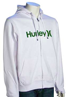 Hurley One and Only Zip Fleece Hoody - White / Green