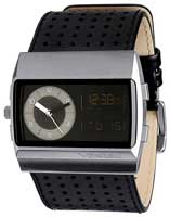 Vestal Monte Carlo Leather Watch - Black / Silver / Black