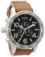 Nixon 51-30 Chrono Leather Watch - Black / Saddle