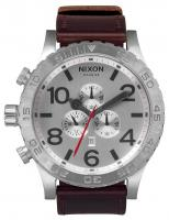 Nixon 51-30 Chrono Leather Watch - Silver / Brown