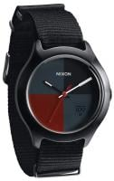 Nixon Quad Watch - All Black / Dark Red Nylon