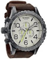 Nixon 51-30 Chrono Leather Watch - Gunmetal / Brown