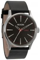 Nixon Sentry Leather Watch - Black