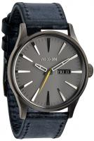 Nixon Sentry Leather Watch - Gunmetal / Navy