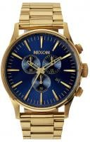 Nixon Sentry Chrono Watch - Gold / Blue Sunray
