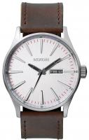 Nixon Sentry Leather Watch - Silver / Brown