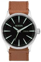 Nixon Sentry Leather Watch - Black / Saddle