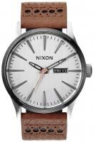 Nixon Sentry Leather Watch - Saddle / Silver