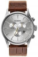 Nixon Sentry Chrono Leather Watch - Saddle Gator