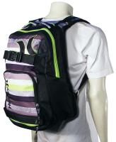 Hurley Honor Roll 3 Skateboard Backpack - Green Stripe