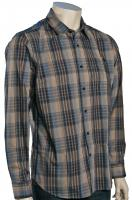 Volcom X Factor Plaid LS Button Down Shirt - Oatmeal