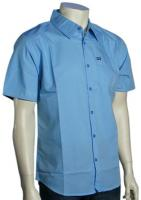 Hurley One and Only Solid SS Button Down Shirt - Light Blue