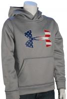 Under Armour Boy's Big Flag Logo Pullover Hoody - True Grey Heather