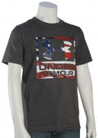 Under Armour Boy's Big Flag Logo T-Shirt - Charcoal Medium Heather / Flag