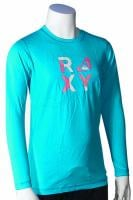 Roxy Check Mate LS Girl's Rash Guard - Turquoise