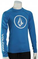 Volcom Boy's Lido Solid LS Rash Guard - True Blue