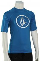 Volcom Boy's Lido Solid SS Rash Guard - True Blue