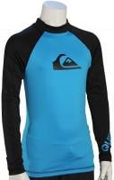 Quiksilver Boy's All Time LS Rash Guard - Cyan / Black