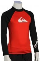 Quiksilver Boy's All Time LS Rash Guard - Red / Black