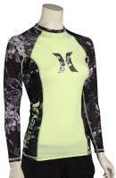 Hurley Women's One & Only LS Rash Guard - Black / Neon