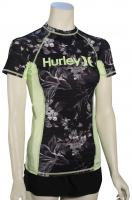 Hurley Women's One & Only SS Rash Guard - Black / Floral Green