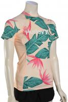 Hurley Women's Hanoi SS Rash Guard - Crimson Tint